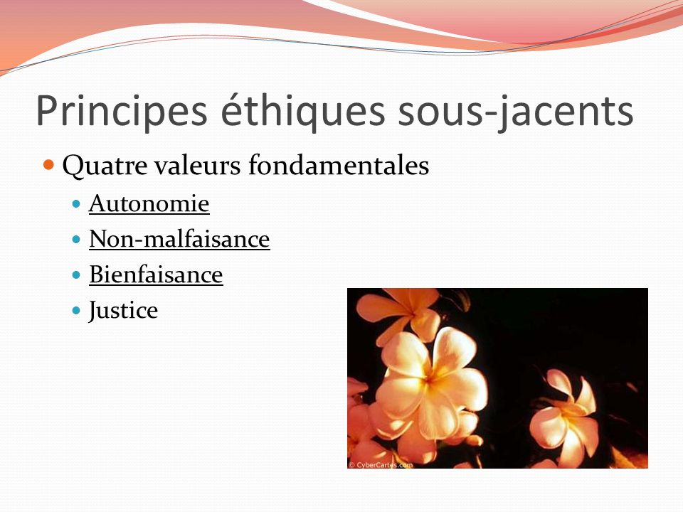 Principes éthiques sous-jacents Quatre valeurs fondamentales Autonomie Non-malfaisance Bienfaisance Justice