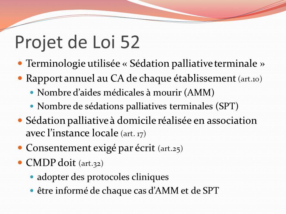 Projet de Loi 52 Terminologie utilisée « Sédation palliative terminale » Rapport annuel au CA de chaque établissement (art.10) Nombre daides médicales