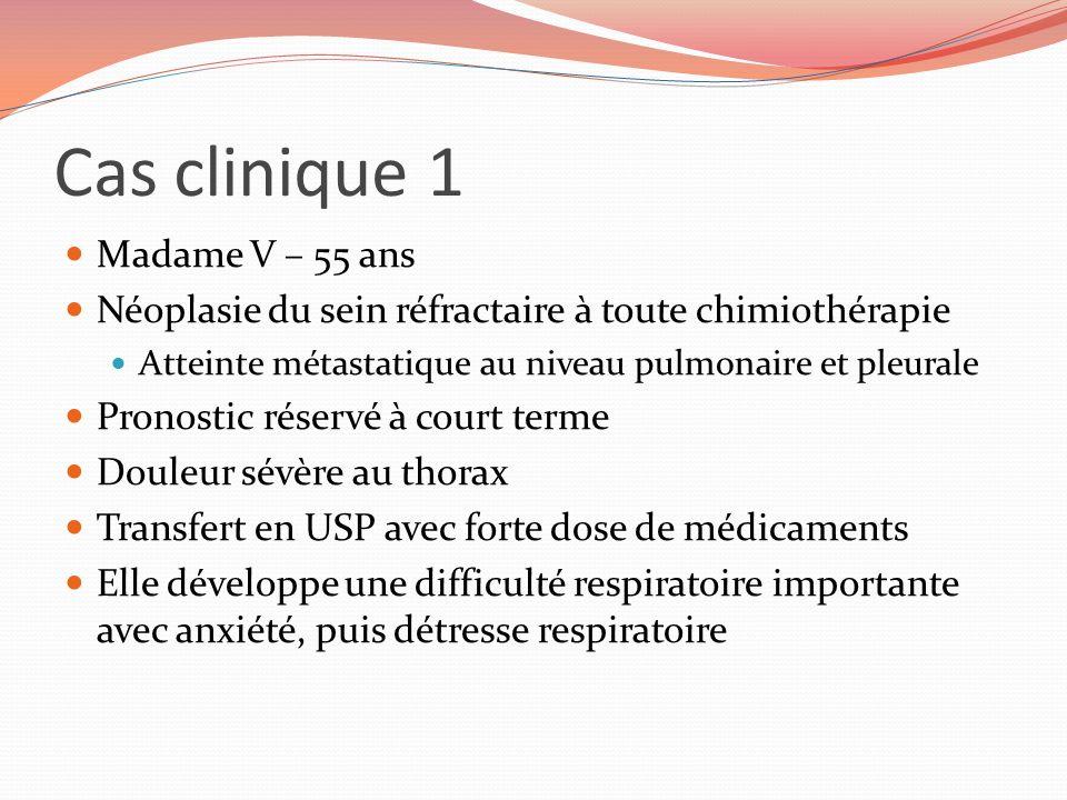 Cas clinique 1 Madame V – 55 ans Néoplasie du sein réfractaire à toute chimiothérapie Atteinte métastatique au niveau pulmonaire et pleurale Pronostic