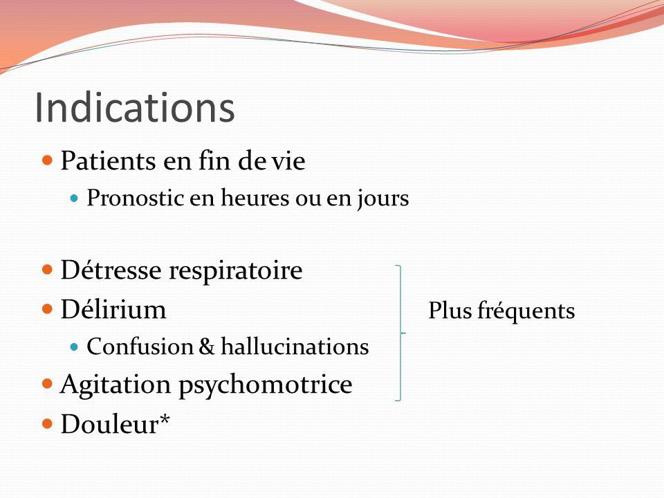 Indications Patients en fin de vie Pronostic en heures ou en jours Détresse respiratoire Délirium Plus fréquents Confusion & hallucinations Agitation