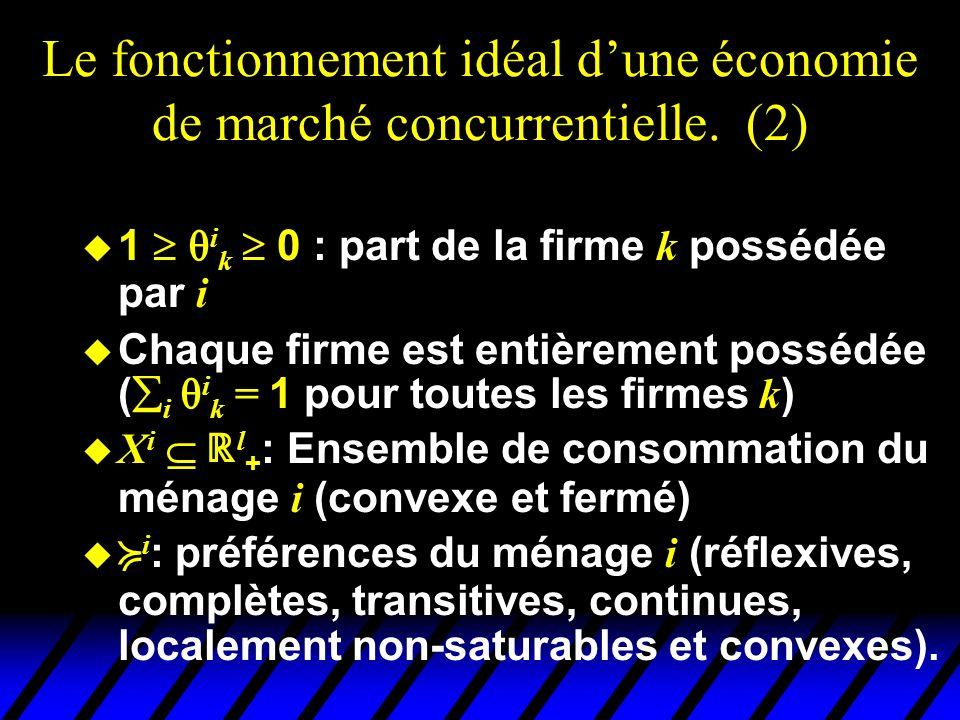 Le fonctionnement idéal dune économie de marché concurrentielle (3) Une économie = ( Y k, X i, i, i k, i j ), i =1,…, n, j =1,…, l et k = 1,… K.