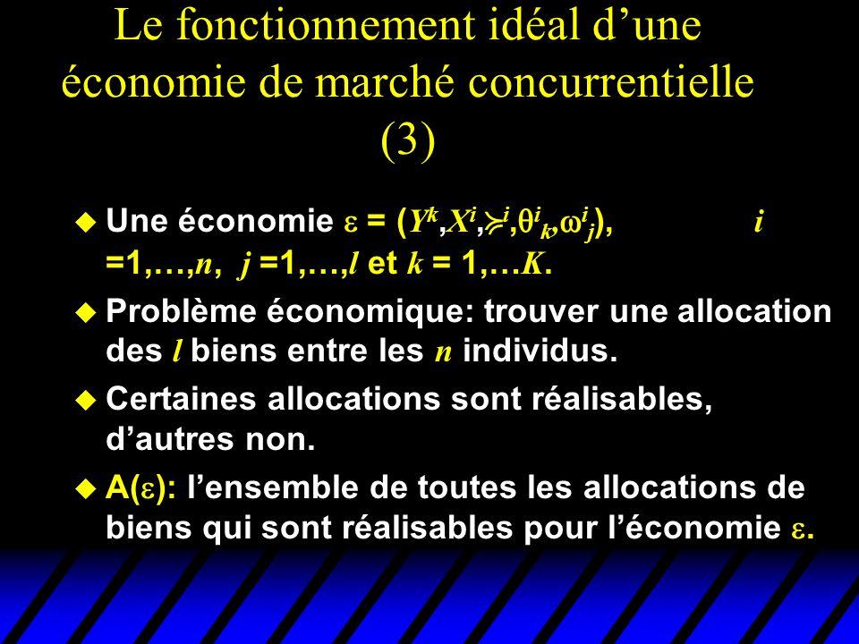 Le fonctionnement idéal dune économie de marché concurrentielle (3) Une économie = ( Y k, X i, i, i k, i j ), i =1,…, n, j =1,…, l et k = 1,… K. Probl