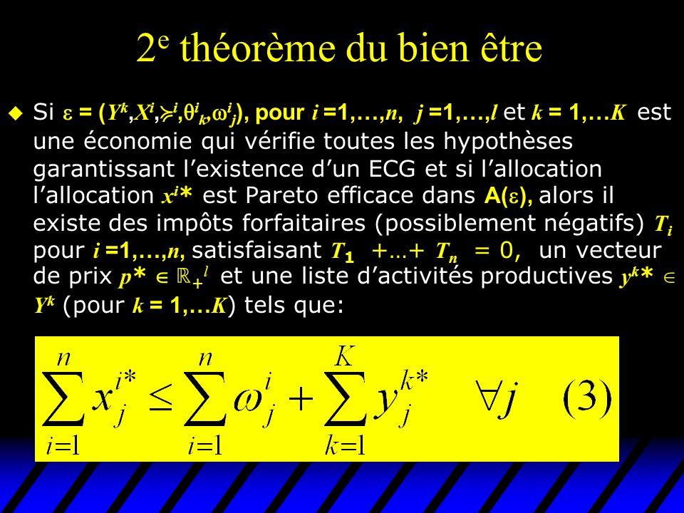 2 e théorème du bien être Si = ( Y k, X i, i, i k, i j ), pour i =1,…, n, j =1,…, l et k = 1,… K est une économie qui vérifie toutes les hypothèses ga
