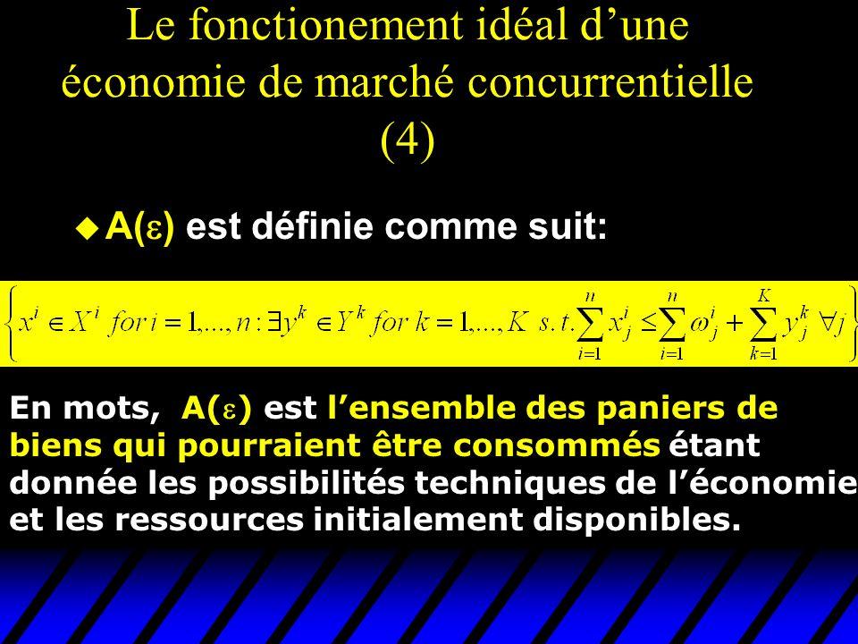 Le fonctionement idéal dune économie de marché concurrentielle (4) u A( ) est définie comme suit: En mots, A() est lensemble des paniers de biens qui