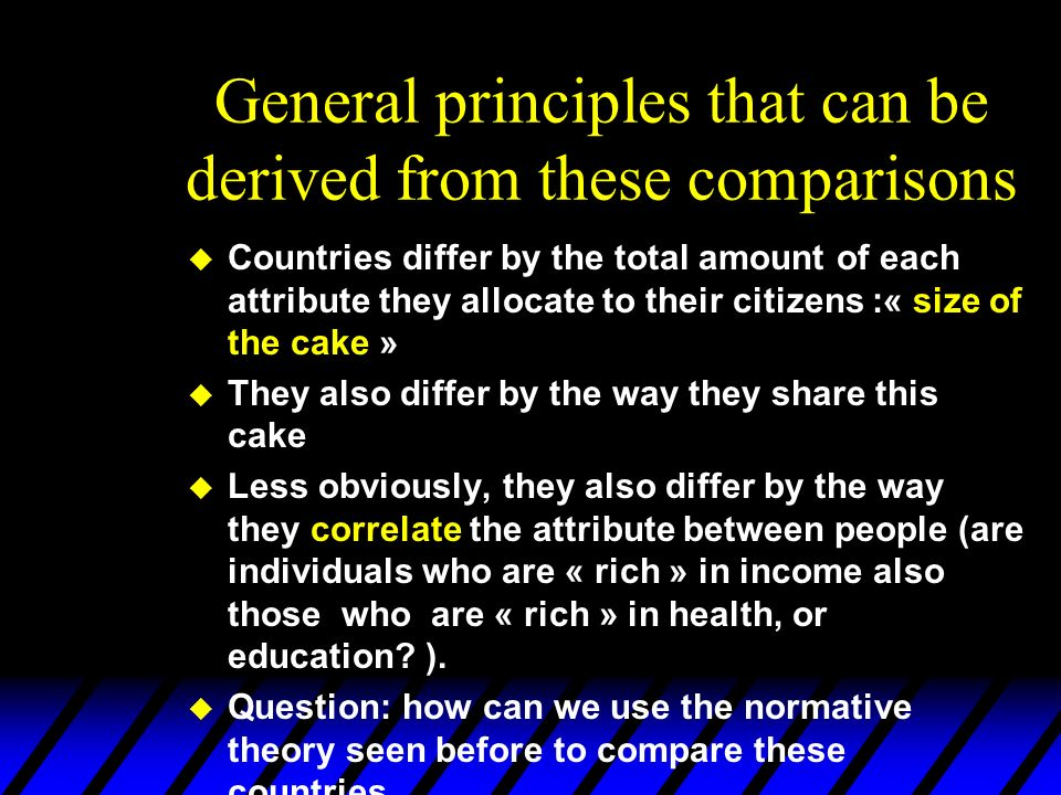 General principles that can be derived from these comparisons u Countries differ by the total amount of each attribute they allocate to their citizens