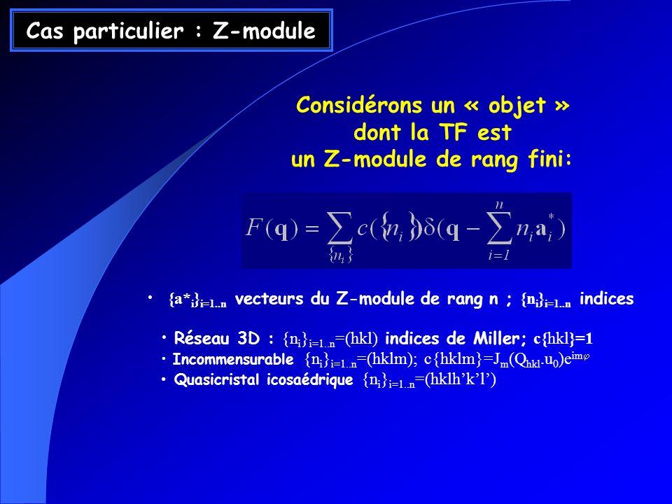 Cas particulier : Z-module Considérons un « objet » dont la TF est un Z-module de rang fini: {a* i } i=1..n vecteurs du Z-module de rang n ; {n i } i=