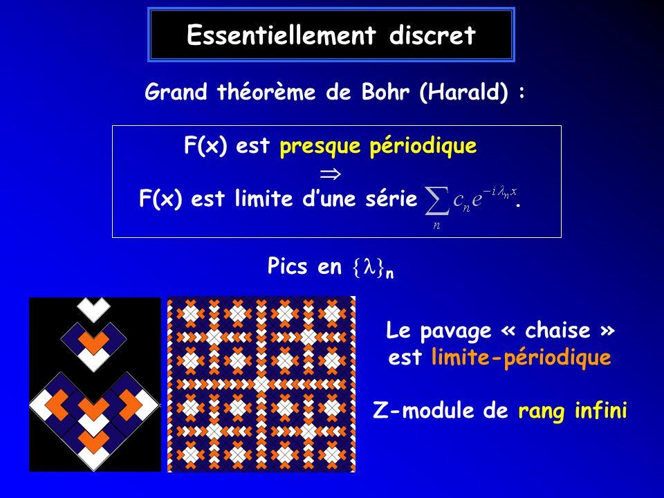 Essentiellement discret Grand théorème de Bohr (Harald) : F(x) est presque périodique F(x) est limite dune série. Le pavage « chaise » est limite-péri