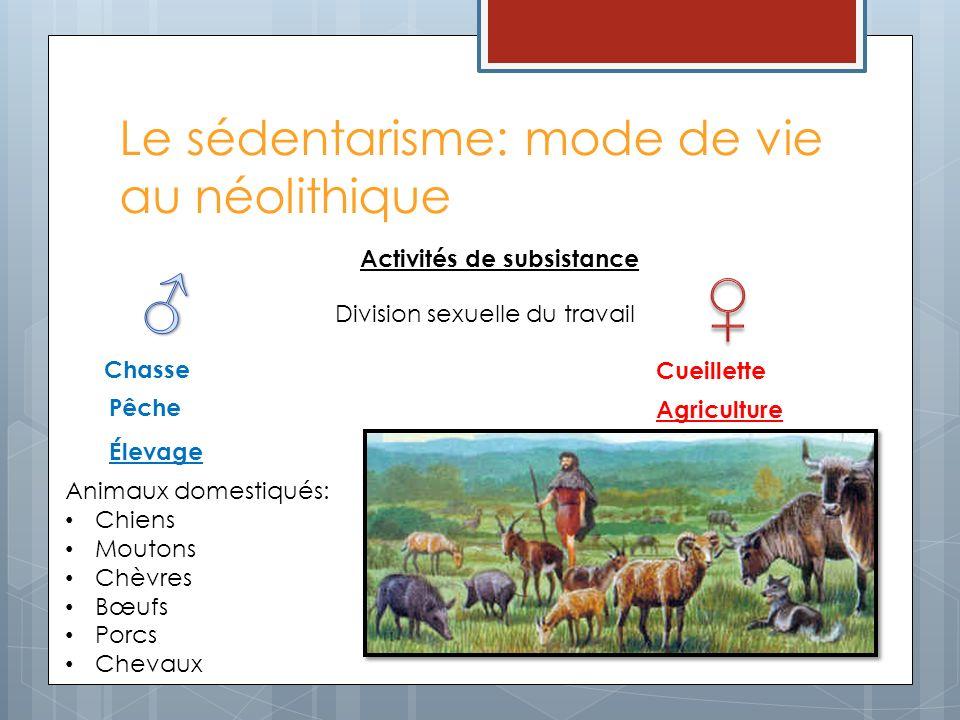 Le sédentarisme: mode de vie au néolithique Animaux domestiqués: Chiens Moutons Chèvres Bœufs Porcs Chevaux Activités de subsistance Élevage Agricultu