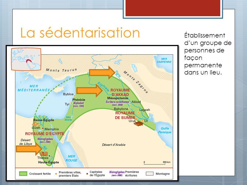 La sédentarisation Établissement dun groupe de personnes de façon permanente dans un lieu.