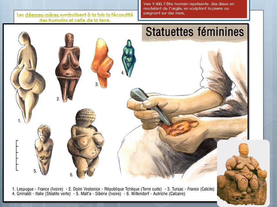 Vers 9 500, lêtre humain représente des dieux en modelant de largile, en sculptant la pierre ou peignant sur des murs,