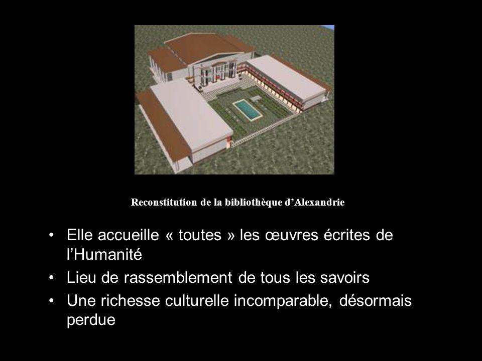Reconstitution de la bibliothèque dAlexandrie Elle accueille « toutes » les œuvres écrites de lHumanité Lieu de rassemblement de tous les savoirs Une