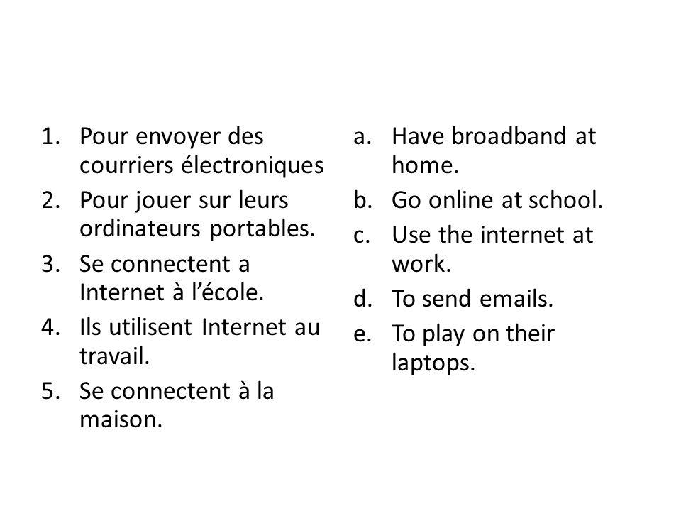 1.Pour envoyer des courriers électroniques 2.Pour jouer sur leurs ordinateurs portables.