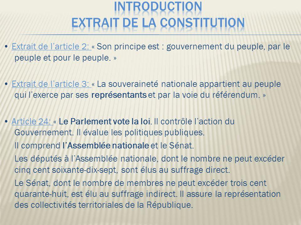Extrait de larticle 2: « Son principe est : gouvernement du peuple, par le peuple et pour le peuple.
