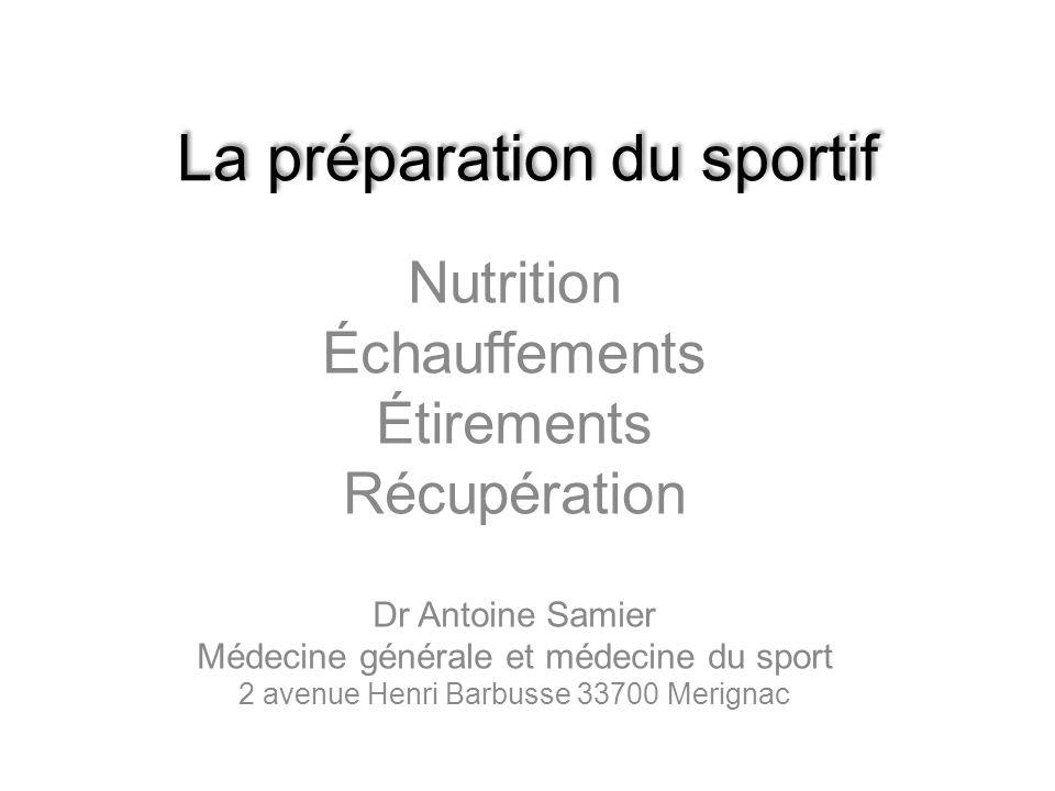 La préparation du sportif Nutrition Échauffements Étirements Récupération Dr Antoine Samier Médecine générale et médecine du sport 2 avenue Henri Barb