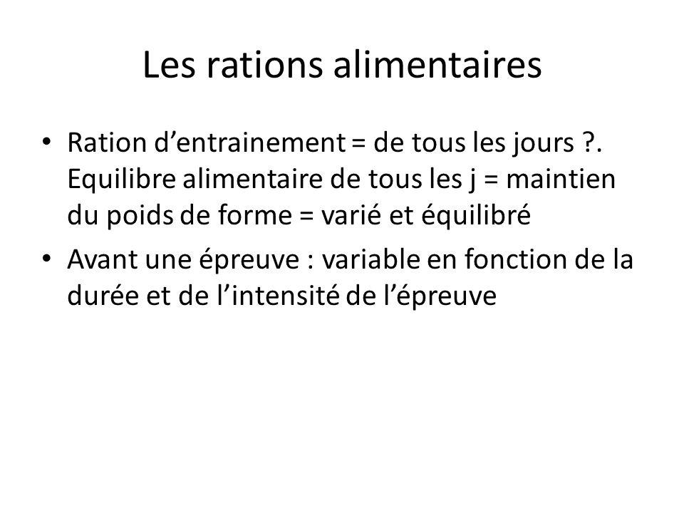 Les rations alimentaires Ration dentrainement = de tous les jours ?. Equilibre alimentaire de tous les j = maintien du poids de forme = varié et équil