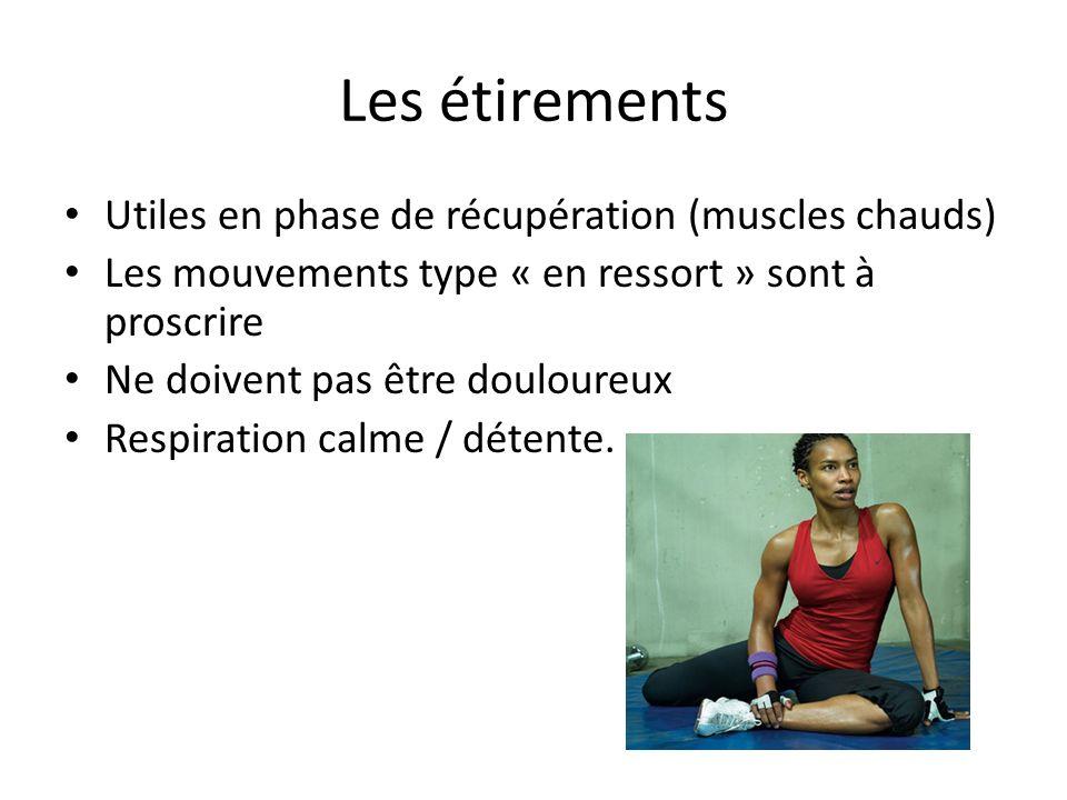 Les étirements Utiles en phase de récupération (muscles chauds) Les mouvements type « en ressort » sont à proscrire Ne doivent pas être douloureux Res