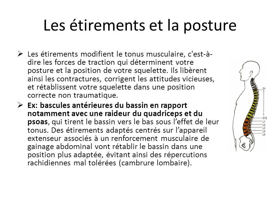Les étirements et la posture Les étirements modifient le tonus musculaire, c'est-à- dire les forces de traction qui déterminent votre posture et la po
