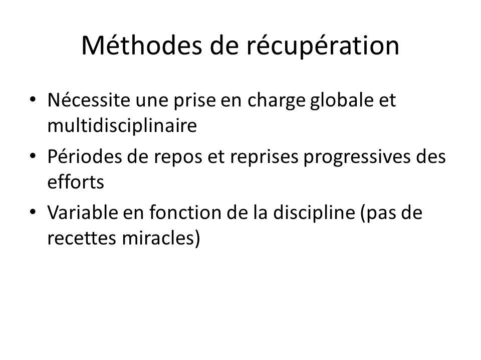 Méthodes de récupération Nécessite une prise en charge globale et multidisciplinaire Périodes de repos et reprises progressives des efforts Variable e