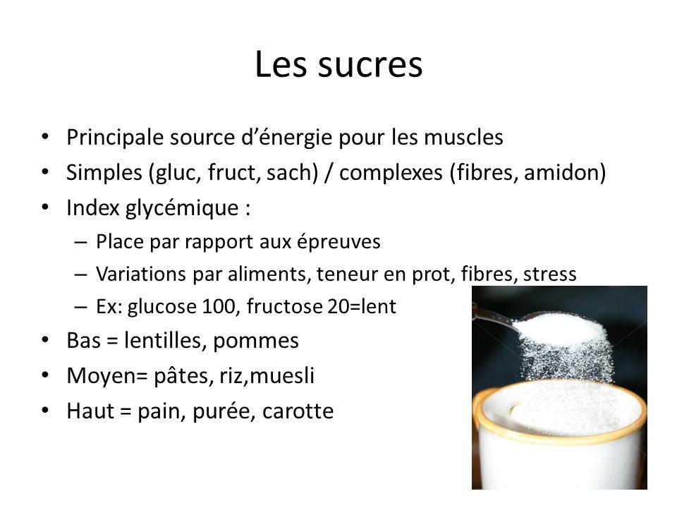 Les sucres Avant la pratique: index bas Dernier repas = 3 h avant avec eau +sucres rapides Ravitaillement= eau + sucres rapides (40 à 80g/l en fonction de la chaleur) Récupération plutôt sucres lents