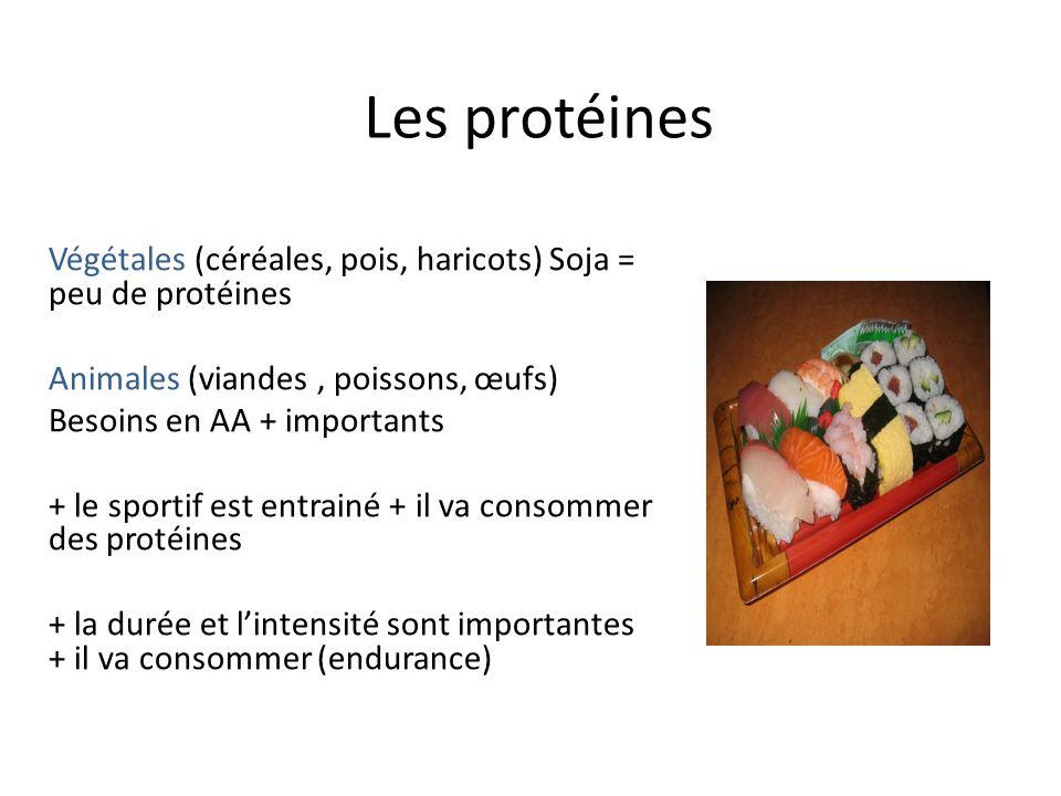 Les protéines Végétales (céréales, pois, haricots) Soja = peu de protéines Animales (viandes, poissons, œufs) Besoins en AA + importants + le sportif