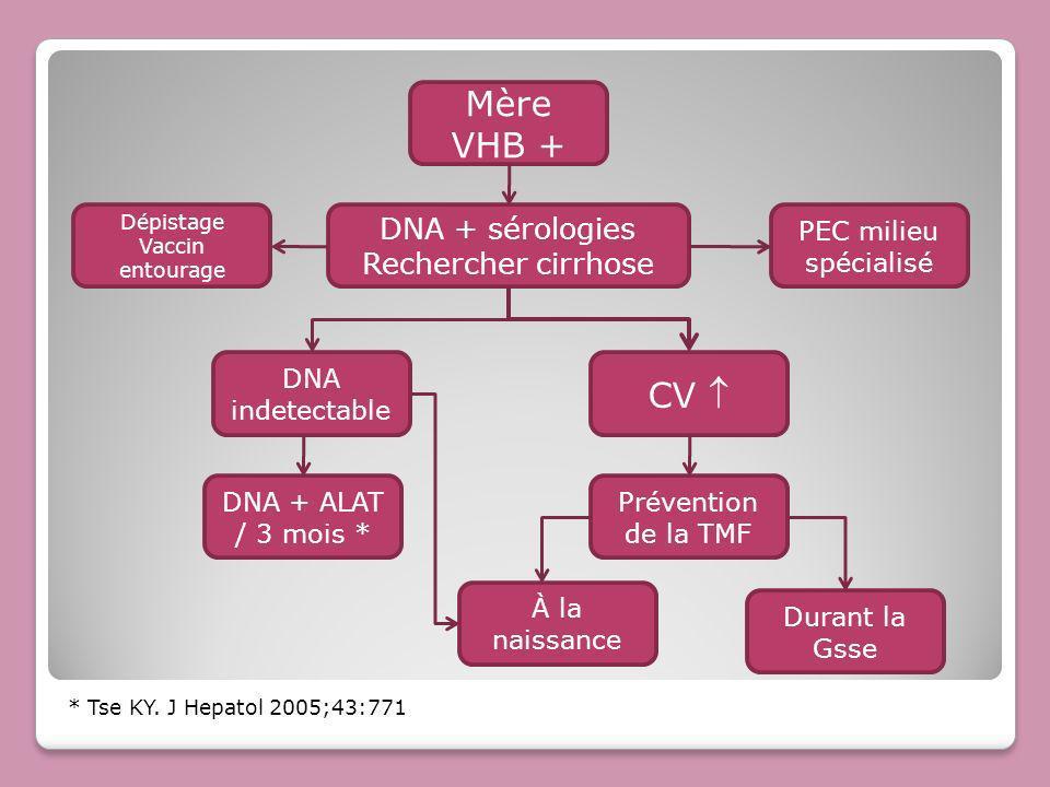 Mère VHB + DNA indetectable CV DNA + ALAT / 3 mois * Dépistage Vaccin entourage PEC milieu spécialisé * Tse KY. J Hepatol 2005;43:771 Prévention de la