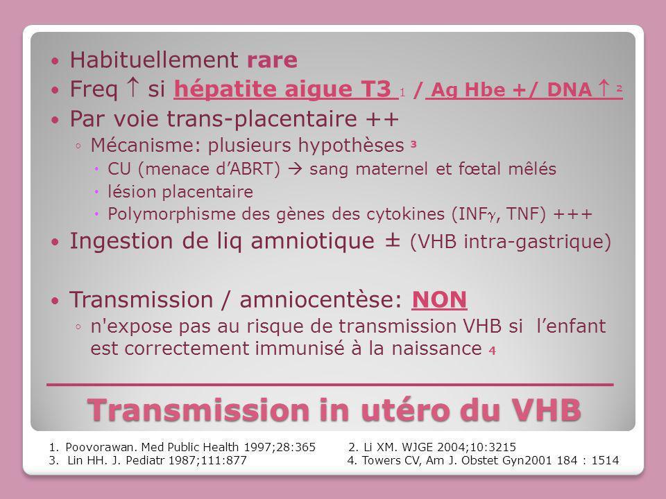 Transmission in utéro du VHB Habituellement rare Freq si hépatite aigue T3 1 / Ag Hbe +/ DNA ² Par voie trans-placentaire ++ Mécanisme: plusieurs hypo