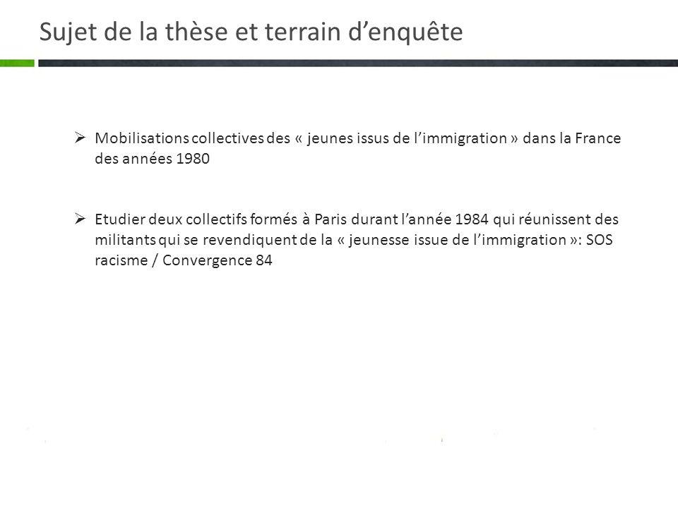 Mobilisations collectives des « jeunes issus de limmigration » dans la France des années 1980 Etudier deux collectifs formés à Paris durant lannée 198