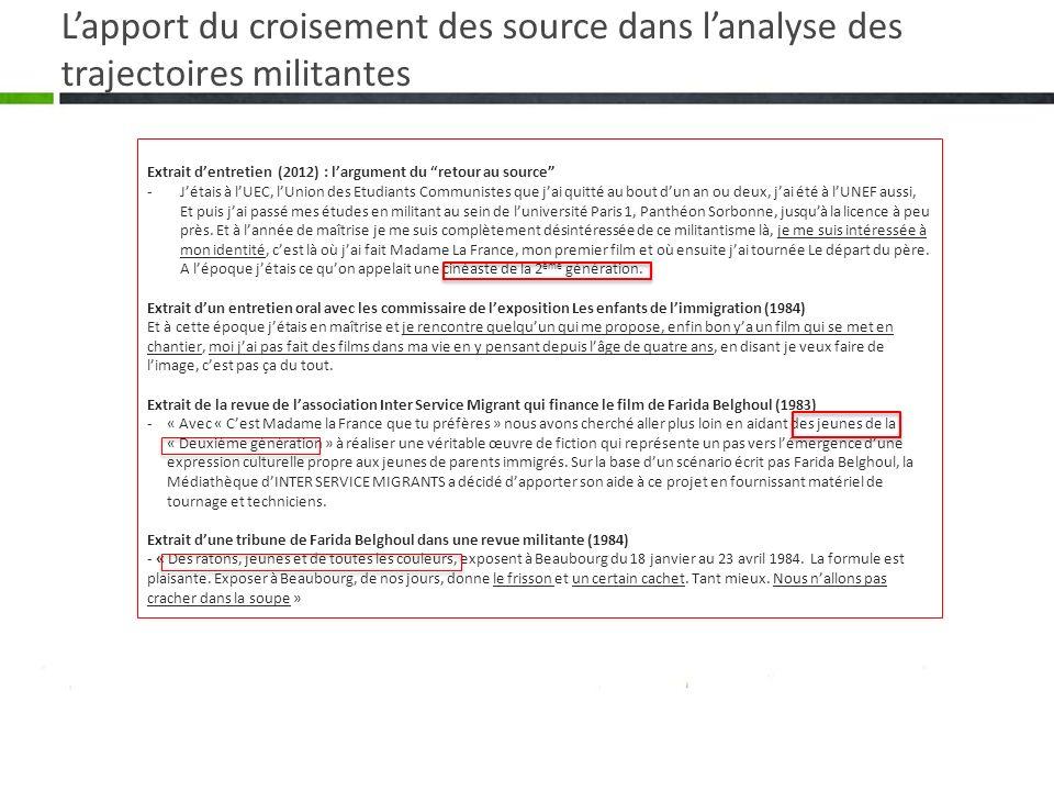 Lapport du croisement des source dans lanalyse des trajectoires militantes Extrait dentretien (2012) : largument du retour au source -Jétais à lUEC, l