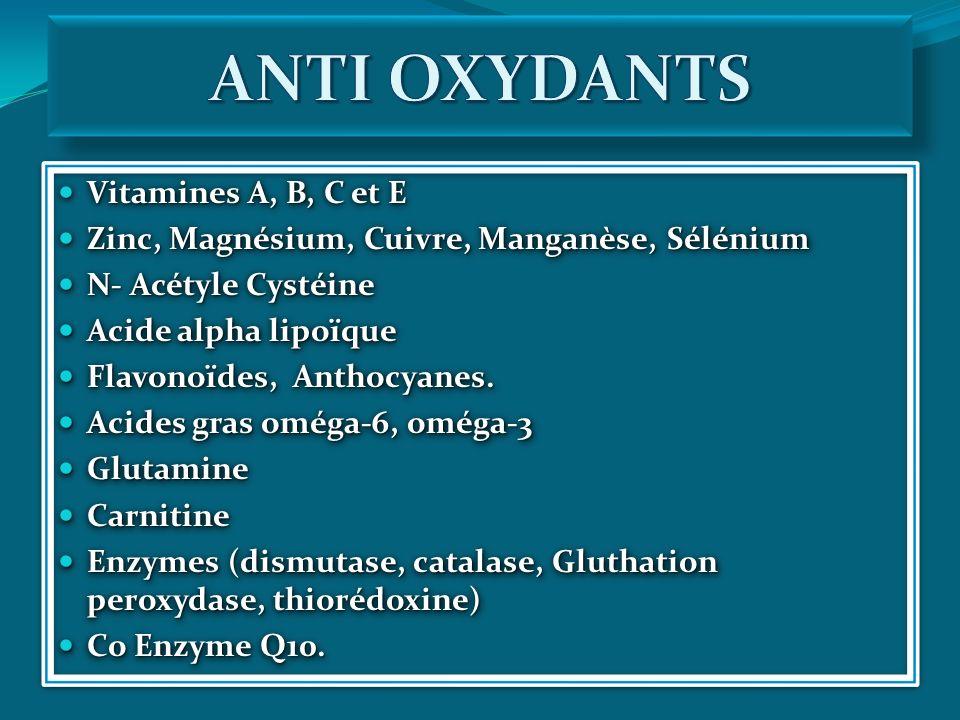 Vitamines A, B, C et E Vitamines A, B, C et E Zinc, Magnésium, Cuivre, Manganèse, Sélénium Zinc, Magnésium, Cuivre, Manganèse, Sélénium N- Acétyle Cys