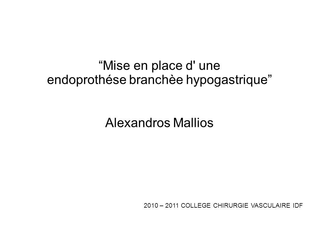 Mise en place d' une endoprothése branchèe hypogastrique Alexandros Mallios 2010 – 2011 COLLEGE CHIRURGIE VASCULAIRE IDF