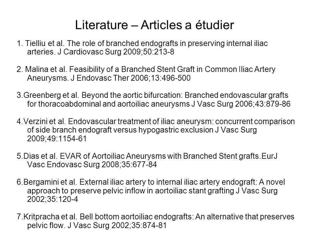 Literature – Articles a étudier 1. Tielliu et al. The role of branched endografts in preserving internal iliac arteries. J Cardiovasc Surg 2009;50:213