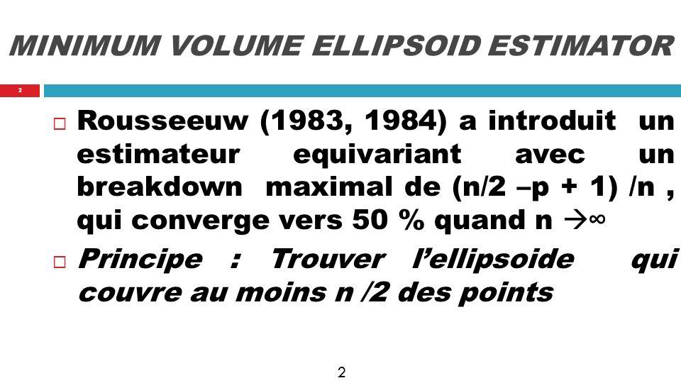 3 MVE : illustration Hertzsprung-Russell data (star cluster cygnus) 47 points 2 variables ( température, light) 97.5% tolerance ellipse 6 outliers 3