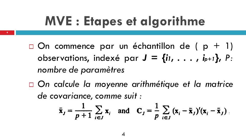 5 Pour chaque observation on calcule la distance : Dji= Trouver la médiane Le volume de lellipsoide est proportionnel à : Vj ~ MVE : Etapes et algorithme 5