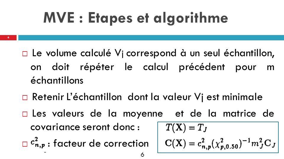 7 Calculer les distances robustes : Les outliers : RDi > C= Pondération: Valeurs pondérées: 7