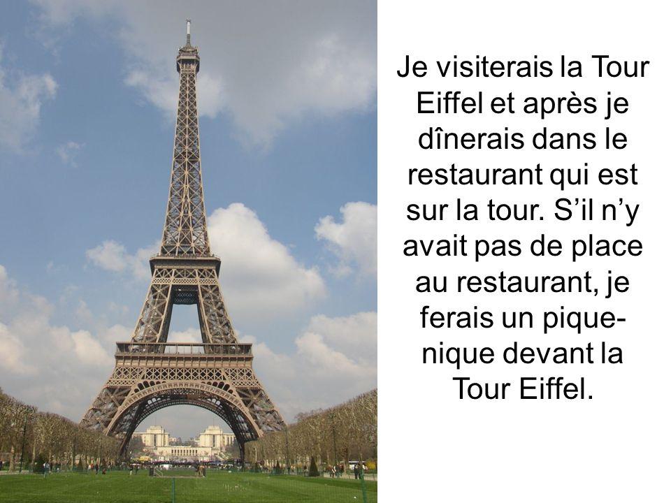 Je visiterais la Tour Eiffel et après je dînerais dans le restaurant qui est sur la tour. Sil ny avait pas de place au restaurant, je ferais un pique-