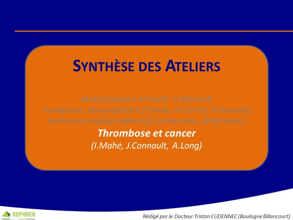 S YNTHÈSE DES A TELIERS Myélodysplasie (P.Chaibi, G.Albrand) Transfusion, hémovigilance (I.Devie, M.Cartier, P.Chevalet) Syndromes myéloprolifératifs