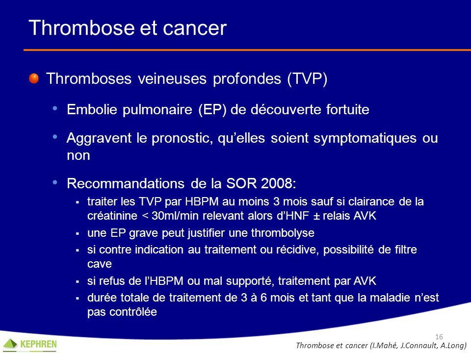 Thrombose et cancer Thromboses veineuses profondes (TVP) Embolie pulmonaire (EP) de découverte fortuite Aggravent le pronostic, quelles soient symptom