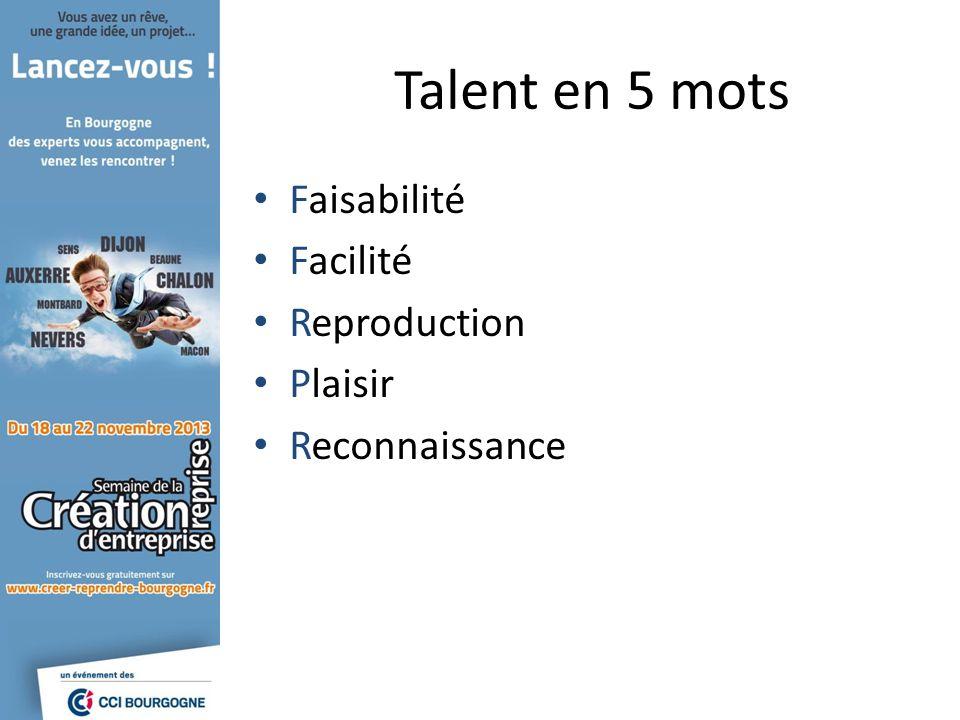 Talent en 5 mots Faisabilité Facilité Reproduction Plaisir Reconnaissance