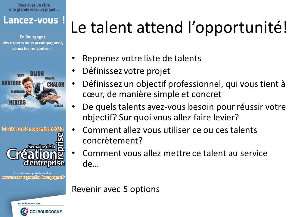 Le talent attend lopportunité! Reprenez votre liste de talents Définissez votre projet Définissez un objectif professionnel, qui vous tient à cœur, de
