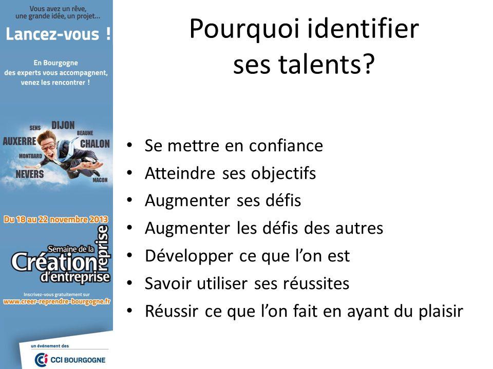 Pourquoi identifier ses talents? Se mettre en confiance Atteindre ses objectifs Augmenter ses défis Augmenter les défis des autres Développer ce que l