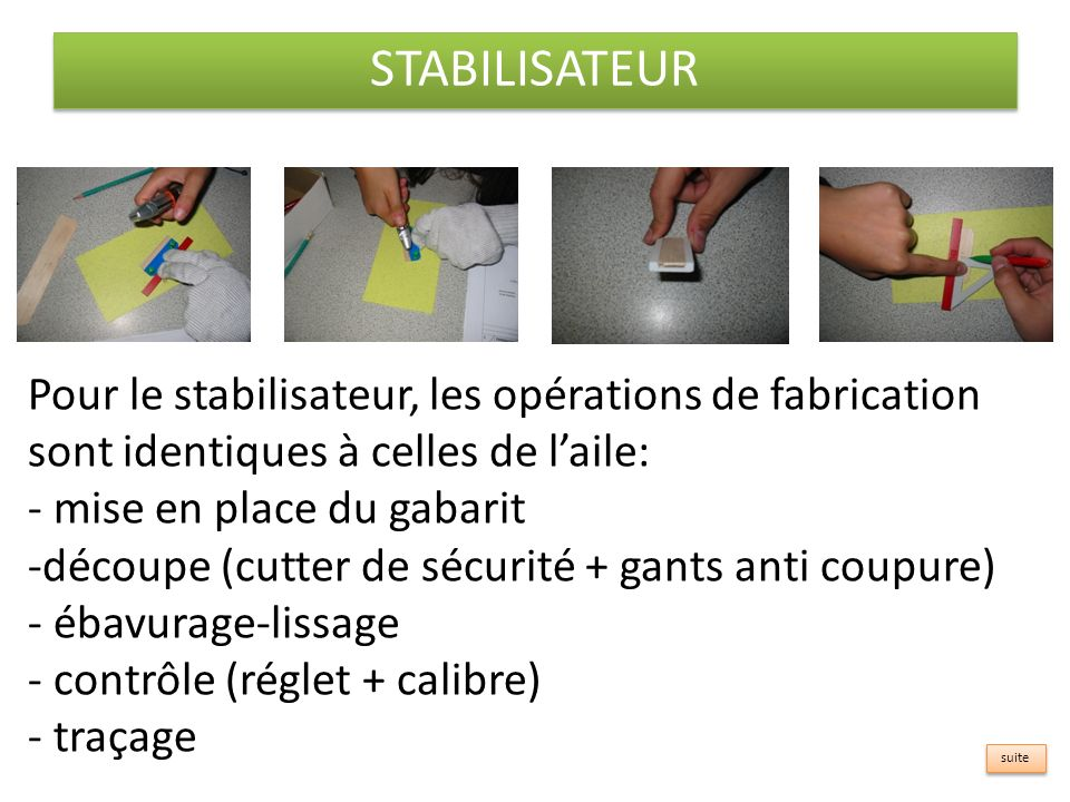 STABILISATEUR Pour le stabilisateur, les opérations de fabrication sont identiques à celles de laile: - mise en place du gabarit -d-découpe (cutter de sécurité + gants anti coupure) - ébavurage-lissage - contrôle (réglet + calibre) - traçage suite
