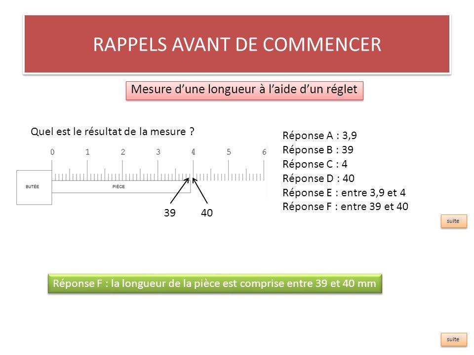 RAPPELS AVANT DE COMMENCER Mesure dune longueur à laide dun réglet Réponse A : 3,9 Réponse B : 39 Réponse C : 4 D : 40 Réponse E : entre 3,9 et 4 Réponse F : entre 39 et 40 Quel est le résultat de la mesure .