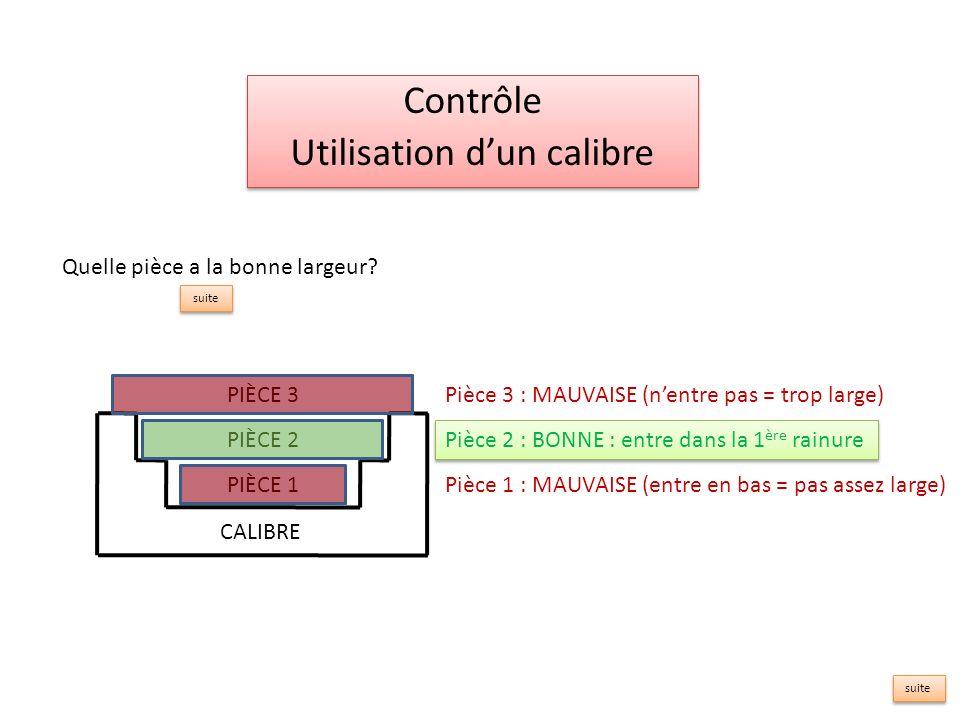 Contrôle Utilisation dun calibre Contrôle Utilisation dun calibre Pièce 3 : MAUVAISE (nentre pas = trop large) Pièce 1 : MAUVAISE (entre en bas = pas