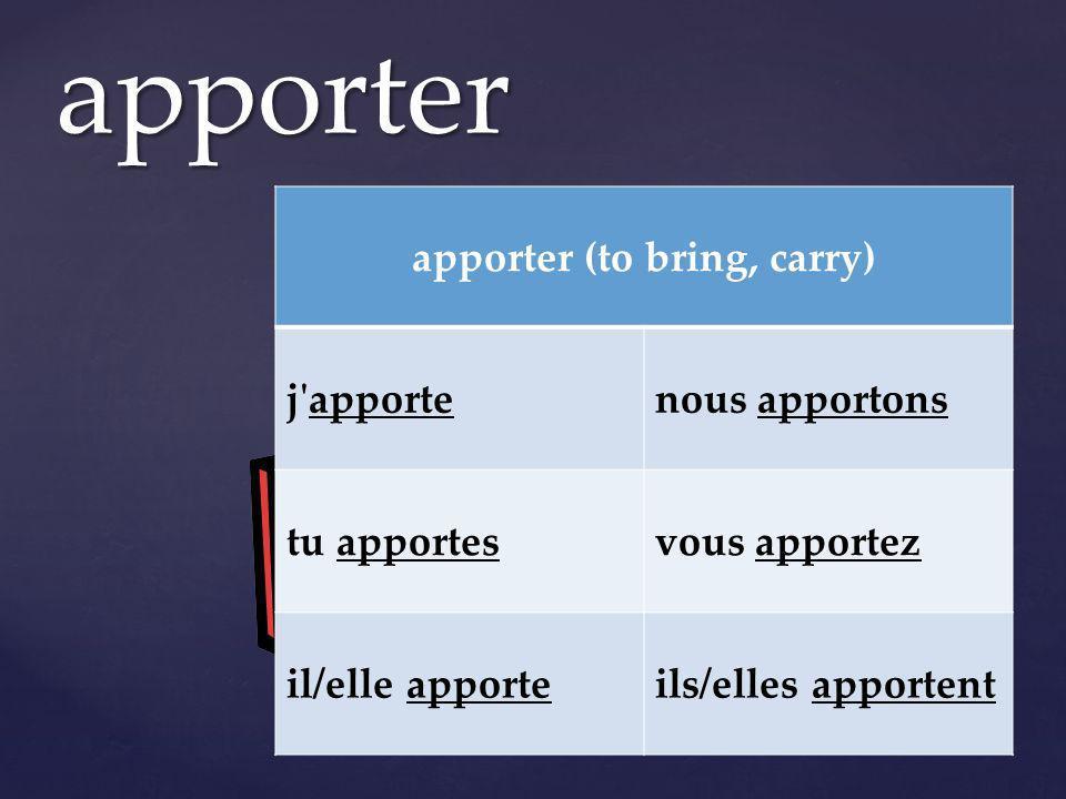 apporter apporter (to bring, carry) j apportenous apportons tu apportesvous apportez il/elle apporteils/elles apportent