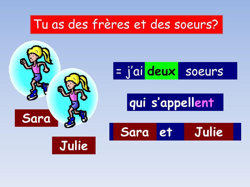 ____ et _____ = jai ____ soeurs Tu as des frères et des soeurs.