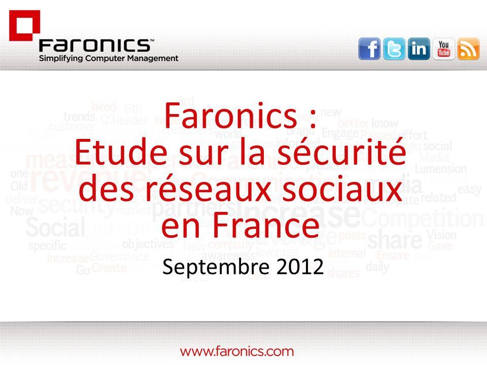 Septembre 2012 Faronics : Etude sur la sécurité des réseaux sociaux en France