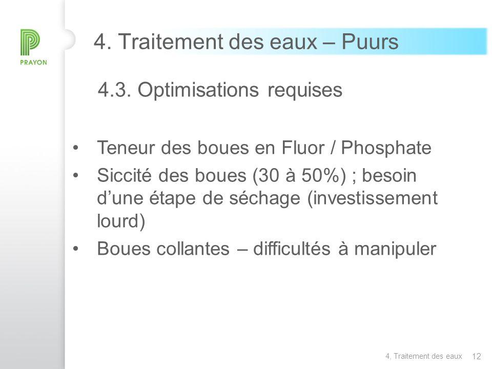 12 4. Traitement des eaux – Puurs 4.3. Optimisations requises Teneur des boues en Fluor / Phosphate Siccité des boues (30 à 50%) ; besoin dune étape d