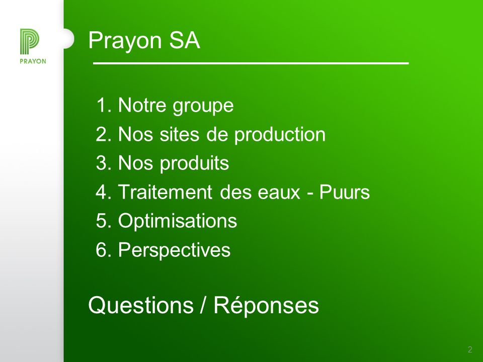 2 Prayon SA 1.Notre groupe 2. Nos sites de production 3.