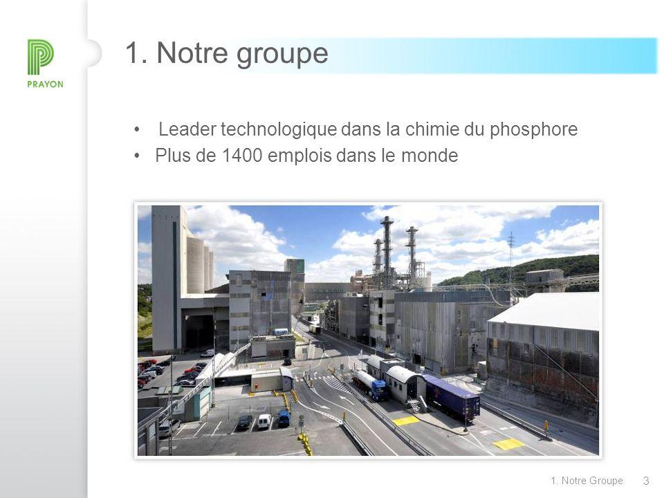 3 1. Notre Groupe 1. Notre groupe Leader technologique dans la chimie du phosphore Plus de 1400 emplois dans le monde