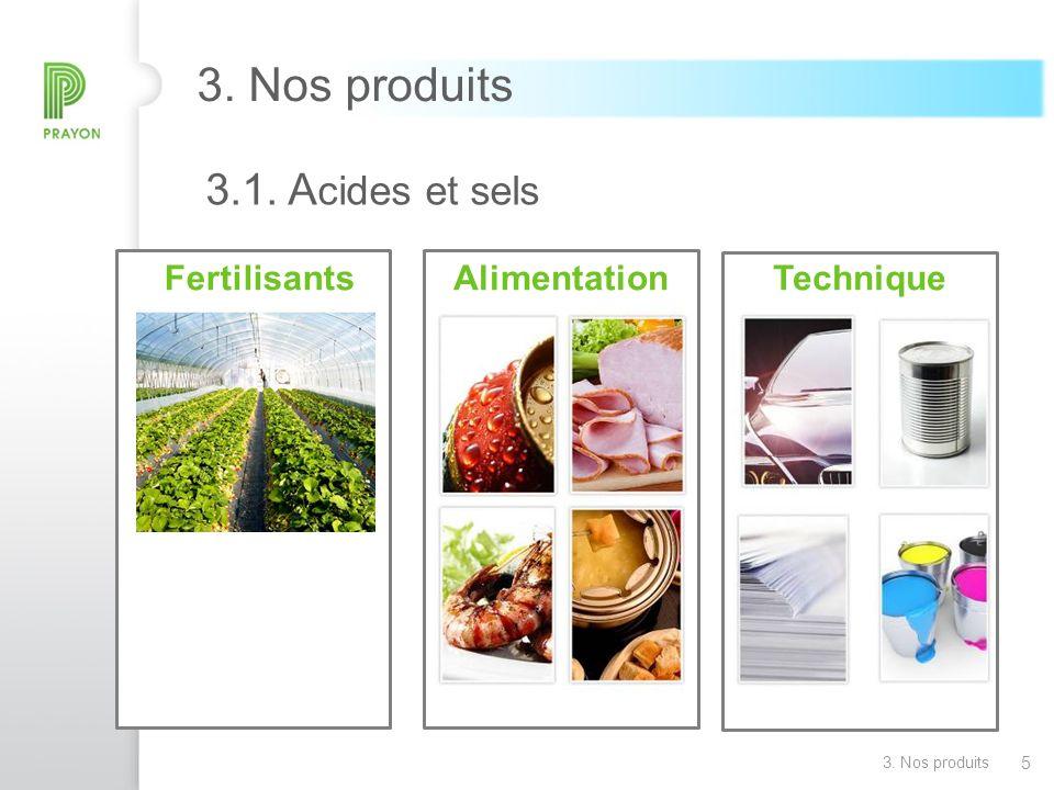5 3. Nos produits FertilisantsAlimentationTechnique 3.1. A cides et sels